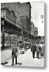 Картина Уобаш авеню и транспортный мост, 1907