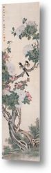 Цветущее дерево с двумя птицами