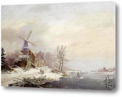 Картина Зимний пейзаж, мельница