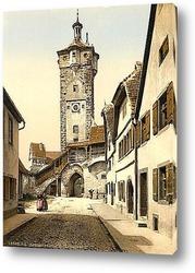 Картина Колокольня , Ротенбург (т.е. об-дер-Таубер), Бавария, Германия. 1890-1900 гг