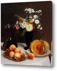 Натюрморт с графином, цветы и плоды