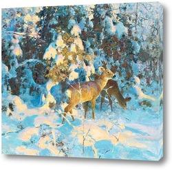Косуля в снежном лесу