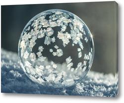 Картина Замёрзший мыльный пузырь на снегу