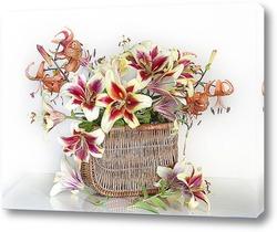 Картина Шикарные Лилии в лукошке на белом фоне