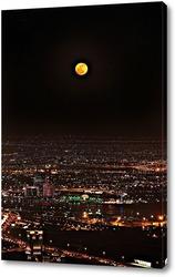 Картина Полнолуние, ночьной Дубай вид с самого высокого здания в мире Бурдж-Халифа