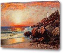 Картина Закат с маяком