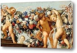 Картина Купидоны с цветочными гирляндами