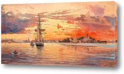 Картина Закат над морем у Стокгольма