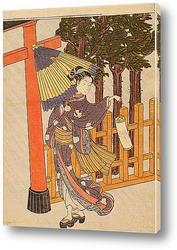 Женщина посещает храм в ночь