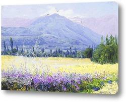 Картина Холмы, поля и люцерны, Чили