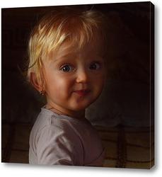 Portrait of a little girl sitting near the window.