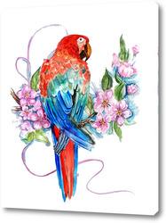 Картина Попугай на ветке, попугай ара
