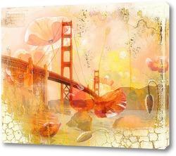 Картина мост и маки