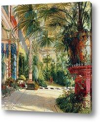 Картина Внутреннее часть дома пальмы
