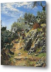 Картина В полдень плантации кактуса в Капри