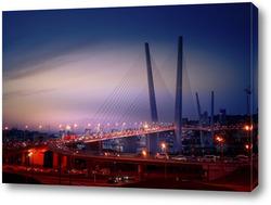 Ночной пейзаж с видом на Золотой мост во Владивостоке