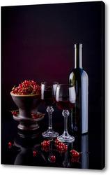 Картина Натюрморт с красной смородиной и красным вином