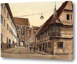 Картина Ротенбург (т.е. об-дер-Таубер), Бавария, Германия.1890-1900 гг