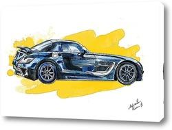 Картина Черный спорткар