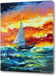 Картина Парусник и шторм в море