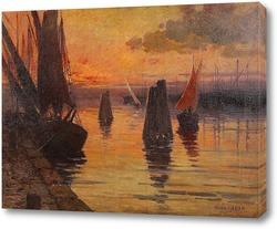 Картина Порт Бретани в сумерках