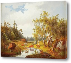 Картина Пейзаж с коровами