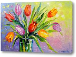 Картина Букет разноцветных тюльпанов