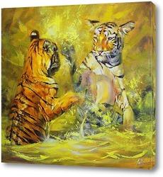 Тигрята принимают ванну