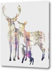 Картина Лесные олени