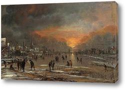 Картина Катание на замёрзшей реке