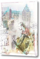 Картина Скейтбордист в мегаполисе
