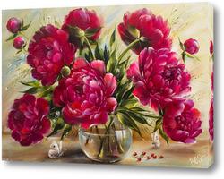 Картина Букет бордовых пионов в стеклянной вазе