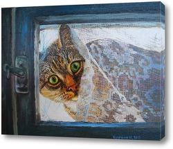 Из старого окошка на мир смотрела кошка