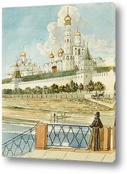 Вид Кремля с Москворецкого моста. Сер XIX века.