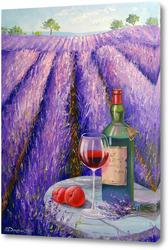 Картина Лаванда, вино и фрукты