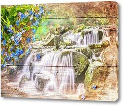Картина Водопад и синие цветы