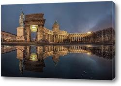 Reflection или зимний закат Казанского Собора