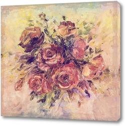 Букет роз,написанных маслом