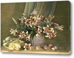 Натюрморт с лилиями в корзине