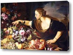 Женщина собирает цветы