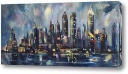 """Картина """"Нью Йорк цвета шампанского"""""""