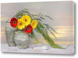 Картина Натюрморт с вазами и герберами