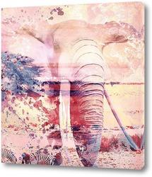 Картина Слон. Сафари. Арт