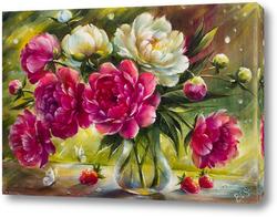 Картина Букет розовых и белых пионов в лучах солнца