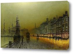Гавань Гринока ночью, 1893