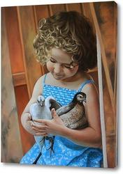 Картина Девочка с птицами