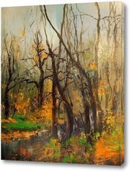 Картина Ручей в весеннем лесу