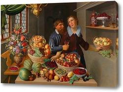 Картина Большой Натюрморт с фруктами, овощами и цветами и пара