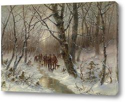 Охотники в зимнем лесу