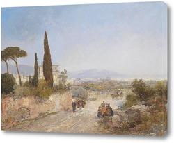 Картина Широкий пейзаж с видом на Флоренцию